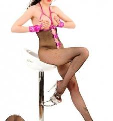 Vücut çorabı kırbaç hediyeli dekolte ağ kısmı komple açık