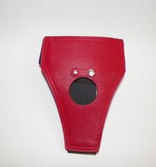 Deri kayışlı kırmızı renk protez penis külodu