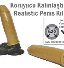 Realistik penis kılıfı, koruyucu kalınlaştırıcı realistik penis kılıfı